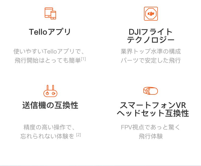 Telloアプリ DJIフライトテクノロジー 送信機の互換性 スマートフォンVRヘッドセット互換性