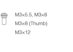 Screws(M3x5.5, M3x8 M3x8 (Thumb) M3x12) -
